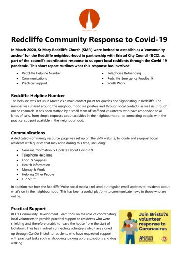St Mary Redcliffe - Redcliffe Community Response to Covid-19