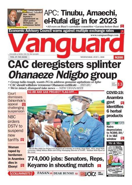 01072020 - CAC deregisters splinter Ohanaeze Ndigbo group
