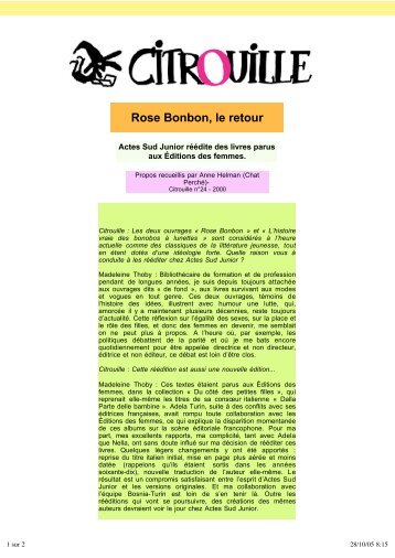 Rose Bonbon, le retour