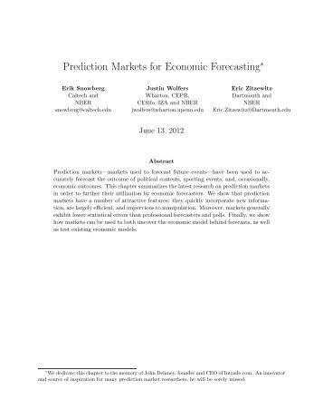 Prediction Markets for Economic Forecasting - California Institute of ...