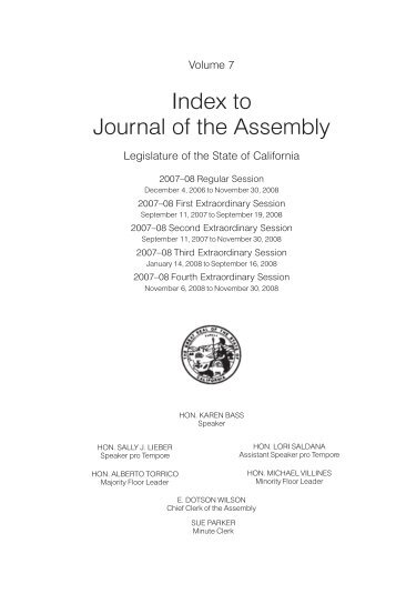7 - California State Assembly Chief Clerk - legislative Document ...
