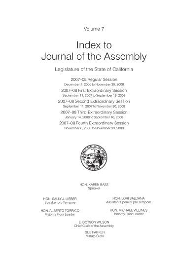 7 - California State Assembly Chief Clerk - legislative Document ...