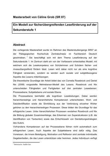 Masterarbeit von Céline Grob (SR 07) - PHZ Luzern - Pädagogische ...