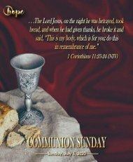 July 5, 2020 Bulletin Communion Sunday, Fifth Sunday After Pentecost