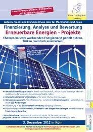 Erneuerbare Energien - Projekte - Finanz Colloquium Heidelberg