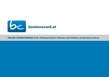 Download Werbeformen 2010 als PDF - Businesscard.at