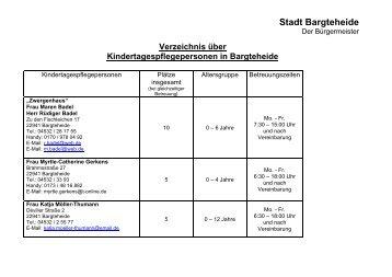 Verzeichnis über Kindertagespflegepersonen in ... - Stadt Bargteheide
