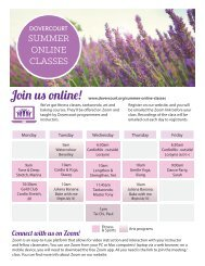 Dovercourt Summer 2020 classes flyer