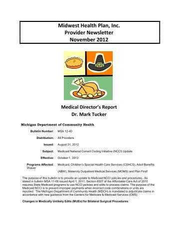 Midwest Health Plan, Inc. Provider Newsletter November 2012