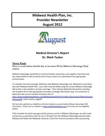 Midwest Health Plan, Inc. Provider Newsletter August 2012