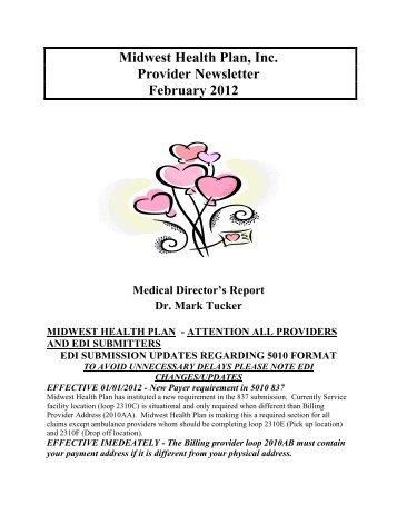 Midwest Health Plan, Inc. Provider Newsletter February 2012