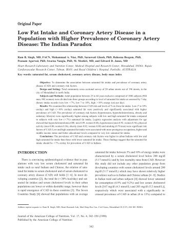 Low Fat Intake and Coronary Artery Disease in a Population with ...