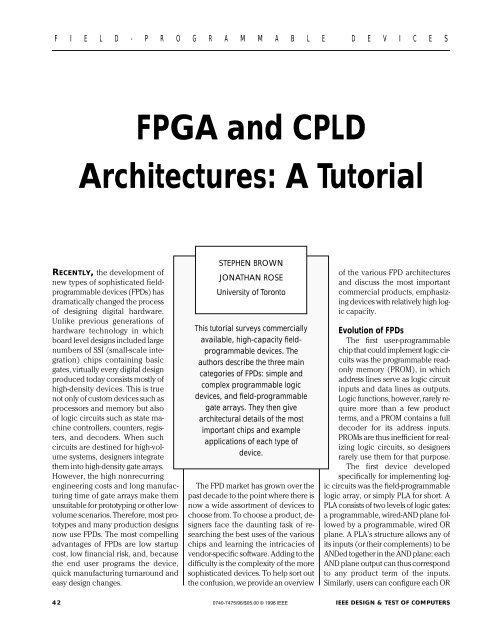 FPGA and CPLD Architectures: A Tutorial - IPFN