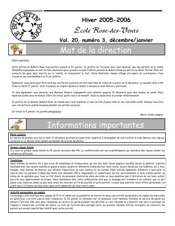Mot de la direction Informations importantes École Rose-des-Vents