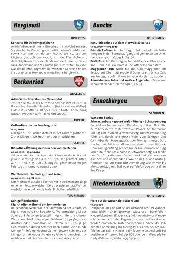 Gemeindespalten KW28 / 09.07.20