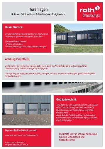 Roth Brandschutztechnik | Sicherheit für Toranlagen
