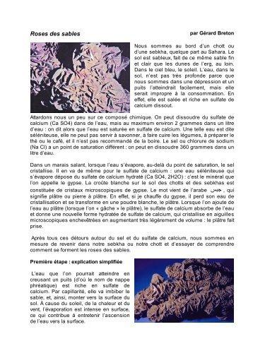 Roses des sables - Science Action Haute-Normandie
