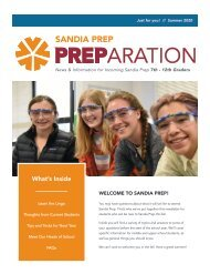 Sandia Prep's PREParation Newsletter - Summer 2020