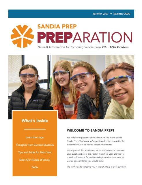 Sandia Prep's PREParation Newsletter - Summer 2020