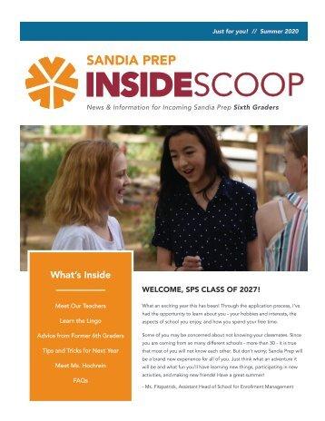"""Sandia Prep's """"Inside Scoop"""" Newsletter - Summer 2020"""