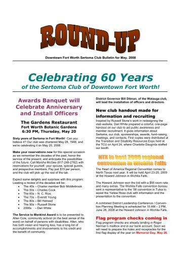 Bulletin for May-08 - Sertoma Club of Downtown Fort Worth