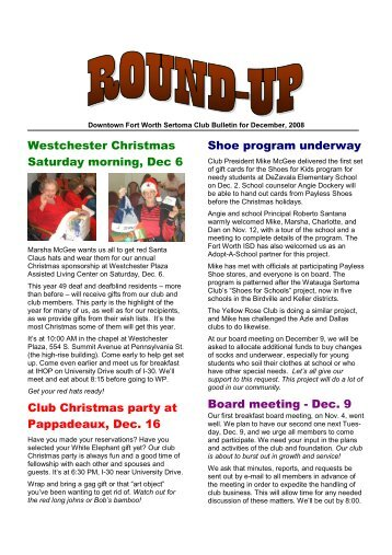 Bulletin for Dec 08 - Sertoma Club of Downtown Fort Worth