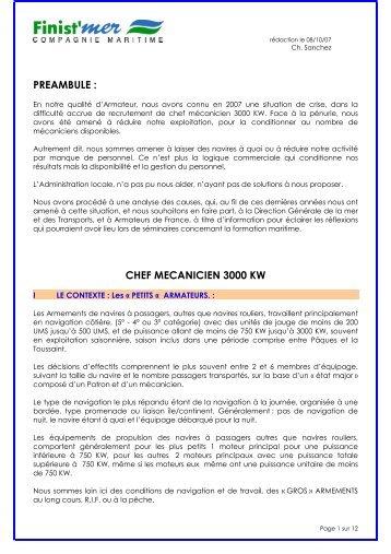 PREAMBULE : CHEF MECANICIEN 3000 KW - rose des vents conseil