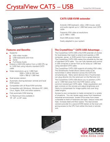 CrystalView CAT5 – USB Twisted Pair KVM ... - Rose Electronics