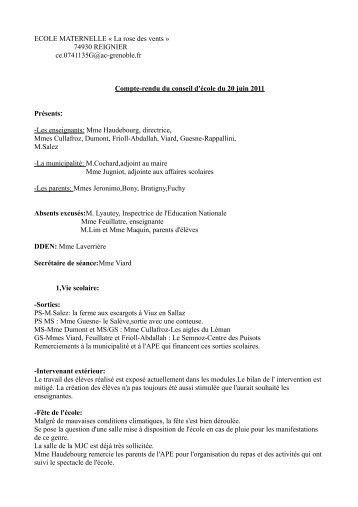 ECOLE MATERNELLE « La rose des vents » 74930 REIGNIER ce ...