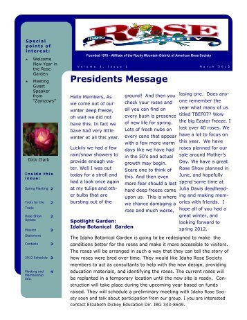 Presidents Message - Idaho Rose Society