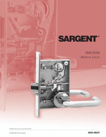 7800/8200 Mortise Locks Functions - Sargent Locks