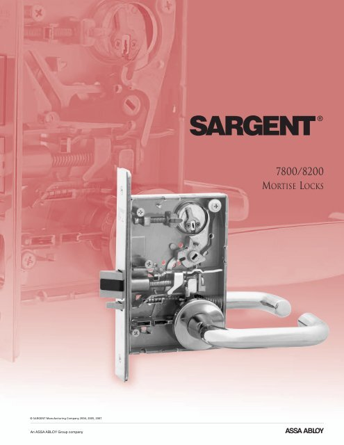 7800 8200 Mortise Locks Functions Sargent