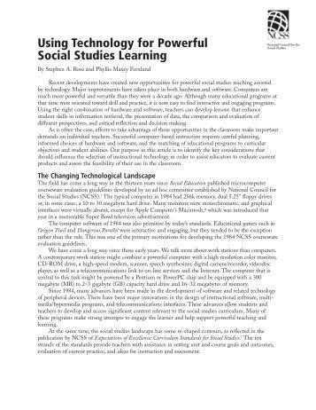 Using Technology for Powerful Social Studies ... - Annenberg Media