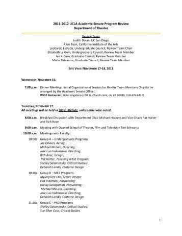 Site Visit Dates: November 17-18, 2011 - UCLA Academic Senate