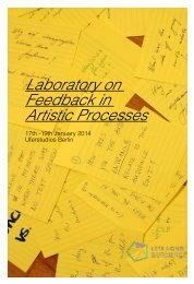 Laboratory on Feedback in Artistic Processes 1