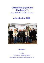 Gemeinsam gegen Kälte Duisburg e.V. Jahresbericht 2008