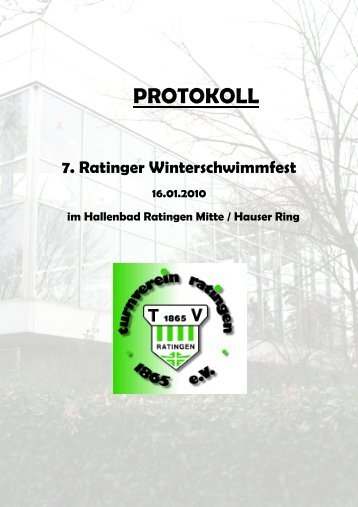 Protokoll 7. Ratinger Winterschwimmfest - TV Ratingen