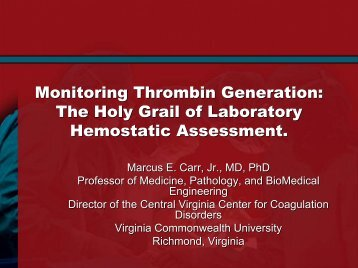 Monitoring Thrombin Generation - Virginia Commonwealth ...