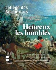 Magazine du Collège des Bernardins / Été 2020