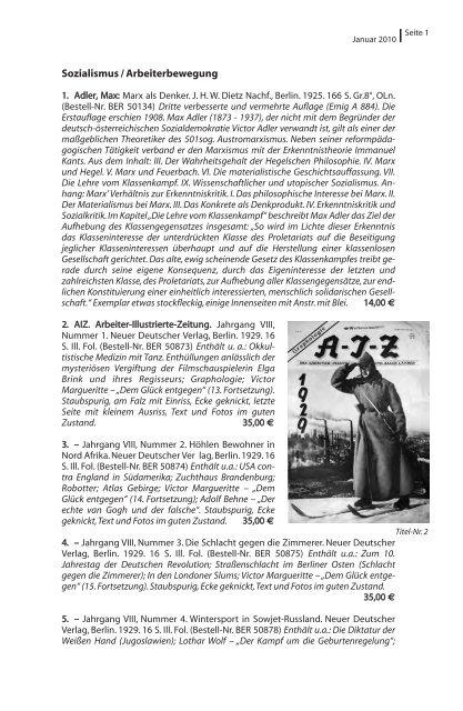 Sozialismus / Arbeiterbewegung - Rotes Antiquariat