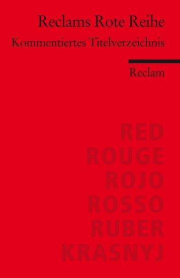 Reclams Rote Reihe - Kommentiertes Titelverzeichnis