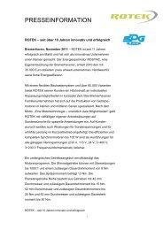 Presseinformation ROTEK – seit 10 Jahren innovativ und erfolgreich ...