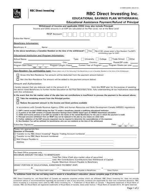 rbc direct investment form sample