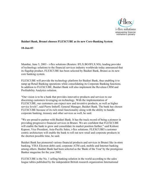 Baiduri Bank, Brunei chooses FLEXCUBE as its new Core     - Oracle