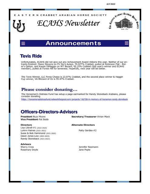ECAHS  Newsletter (Current)