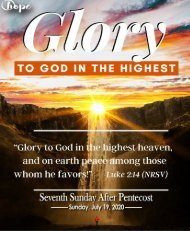 July 19, 2020 Bulletin - Seventh Sunday After Pentecost