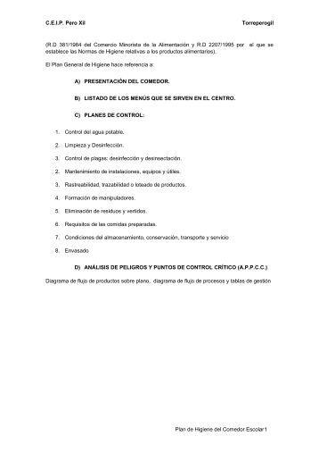 Modelo borrador de reglamento de comedor escolar for Plan de comedor escolar