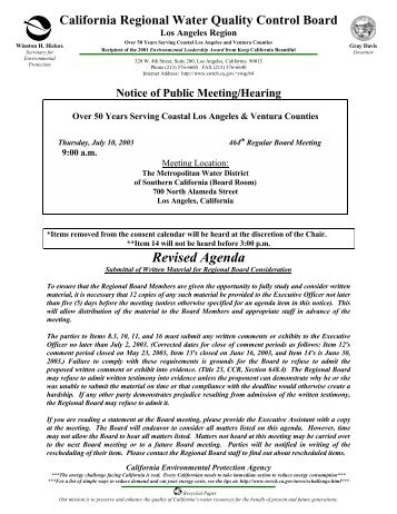 Revised Agenda - State Water Resources Control Board