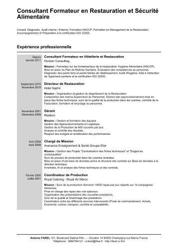Consultant Formateur en Restauration et Sécurité Alimentaire - CV