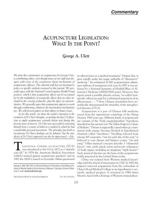 George A. Ulett - The Scientific Review of Alternative Medicine